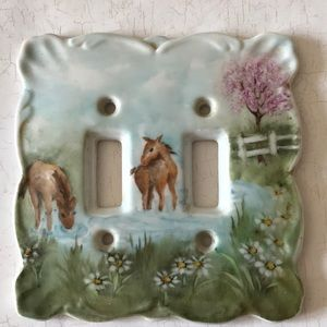 Other - Ceramic Handpainted Switch Plate Horses Ponies